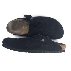 Birkenstock Boston Black Suede Slip On Shoes Sz 38